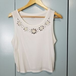 Express embellished white cropped top size M -Y3